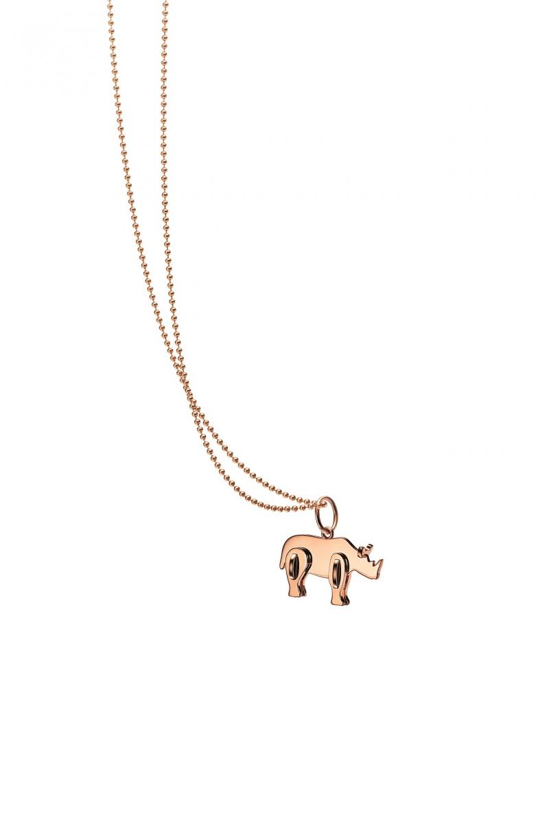 Tiffany 2018 Save the Wild系列18K玫瑰金犀牛迷你吊墜 NT$22,000(不含項鍊)