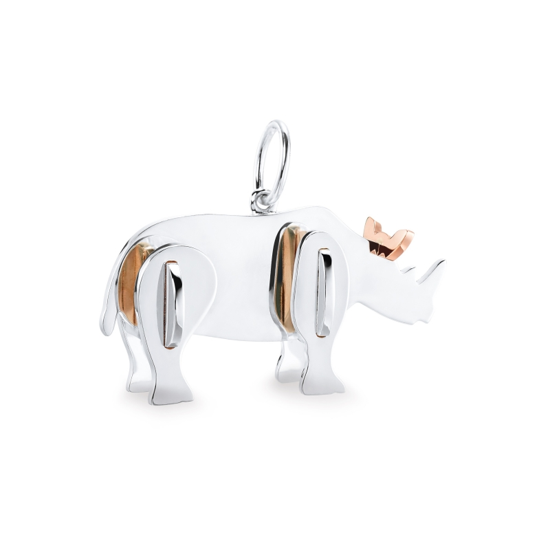 Tiffany 2018 Save the Wild系列純銀與18K玫瑰金犀牛吊墜 NT$17,000