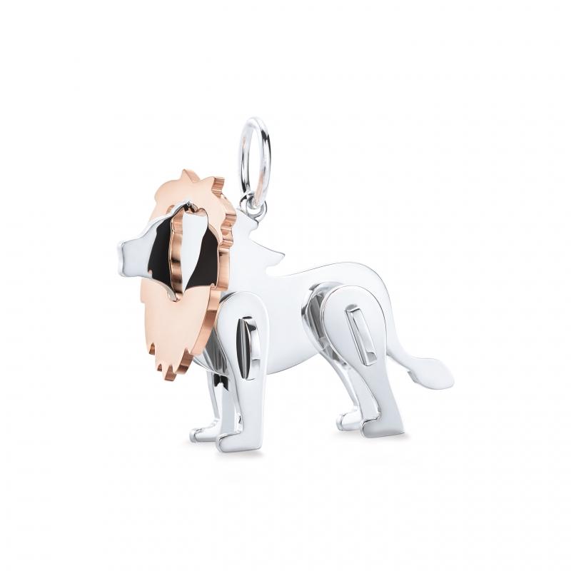 Tiffany 2018 Save the Wild系列純銀與18K玫瑰金獅子吊墜 NT$17,000