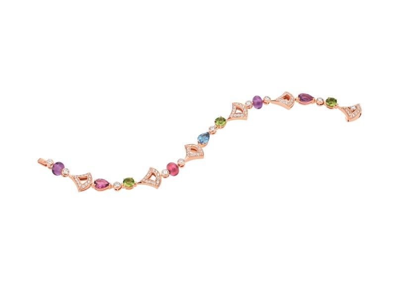 BVLGARI DIVAS' DREAM系列玫瑰金彩寶手鍊,參考價格 約新台幣569,000元。