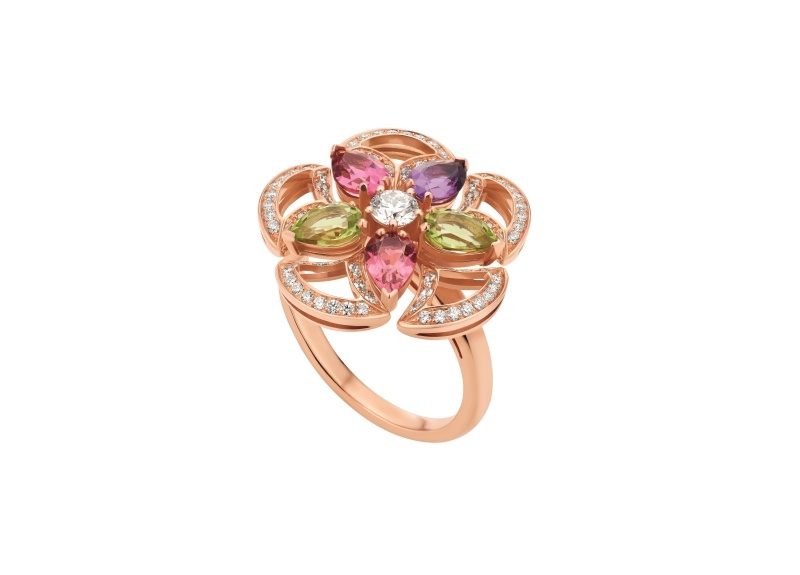 BVLGARI DIVAS' DREAM系列玫瑰金彩寶戒指,參考價格約新台幣284,500元。