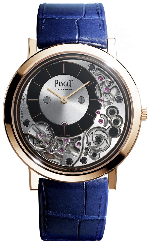 Piaget Altiplano Ultimate 910P41毫米,18K 玫瑰金腕錶,全球最纖薄自動上鏈機械機芯腕錶 機芯及錶殼融合為一;910P自動上鏈機械機芯,搭配22K金質黑色PVD塗層外緣式擺陀 18K 玫瑰金針扣式錶釦 黑色鱷魚皮錶帶 研發時間:3年 動力儲存:約50小時 振頻:每小時21600次/ 3 Hz 厚度:4.30毫米 (錶殼連機芯) 機芯寶石數:30 功能:偏心式時、分針小錶盤設於10時位置 零件數目:238 (錶殼連機芯) 細節修飾:環狀霧面拋光錶底蓋、太陽放射狀霧面拋光錶橋、倒角處理修飾錶橋、齒輪以太陽放射狀或環狀霧面拋光、黑色螺絲、專用動力校正系統鐫刻伯爵「P」字標誌 G0A43120 台幣參考價格930,000元