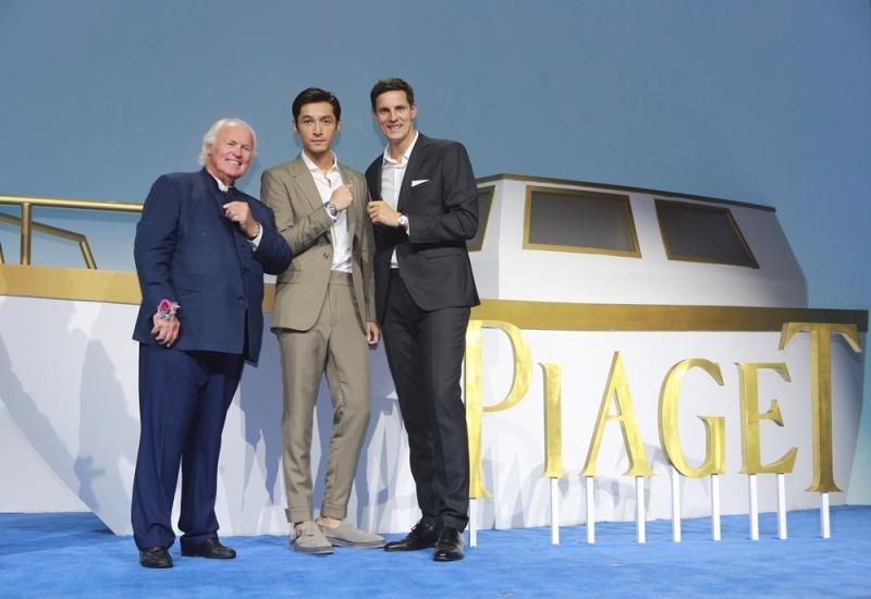 伯爵家族第四代傳人Yves PIAGET先生、伯爵中國區行政總裁Mathieu DELMAS先生與品牌推廣大使胡歌合影留念