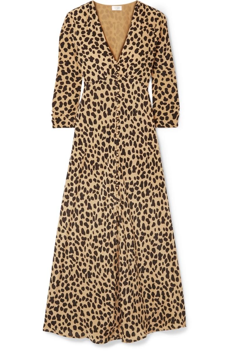 豹紋真絲縐紗連衣裙,RIXO London @Net-A-Porter。