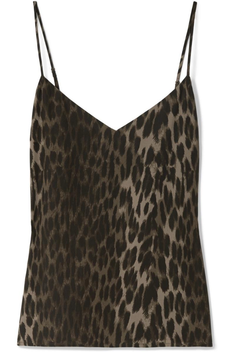 豹紋真絲細肩帶背心,L'Agence @Net-A-Porter。