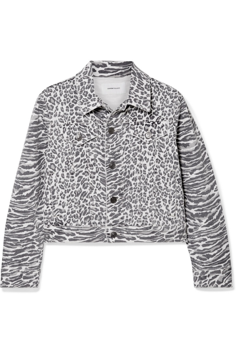 豹紋牛仔夾克,Current/Elliott @Net-A-Porter。