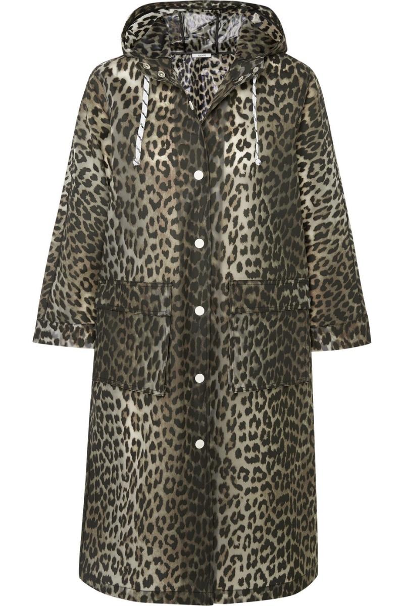 豹紋啞光 PU 外套,Ganni @Net-A-Porter。