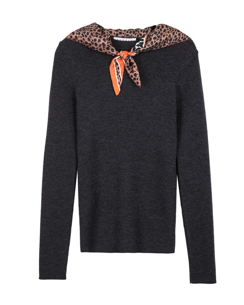 豹紋假領巾針織上衣,Sandro,NT9,050。