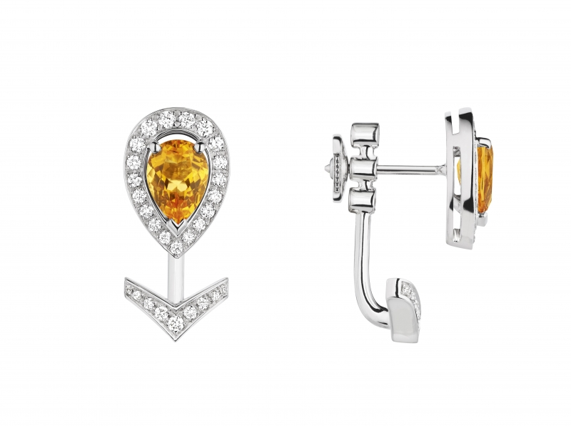 Joséphine Aigrette 18K白金黃水晶耳環 • 鑲嵌一顆 0.6 克拉梨形黃水晶 • 建議售價: TWD 120,000 • Reference: 083368