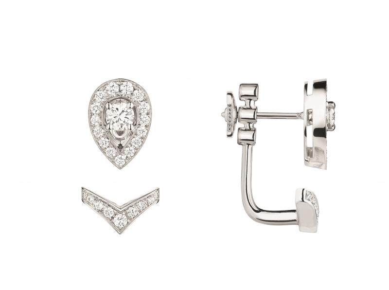 Joséphine Aigrette 18K白金鑽石耳環 • 鑲嵌明亮式切割鑽石 • 建議售價: TWD 162,000 • Reference: 083312