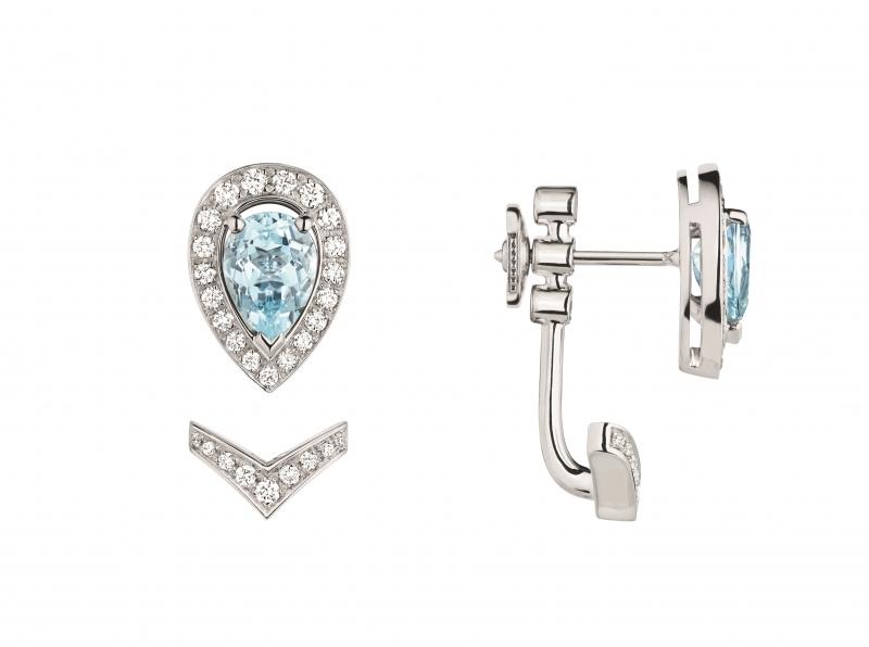 Joséphine Aigrette 18K白金海藍寶石耳 環 • 鑲嵌一顆 0.6 克拉梨形海藍寶石 • 建議售價: TWD 120,000 • Reference: 083367