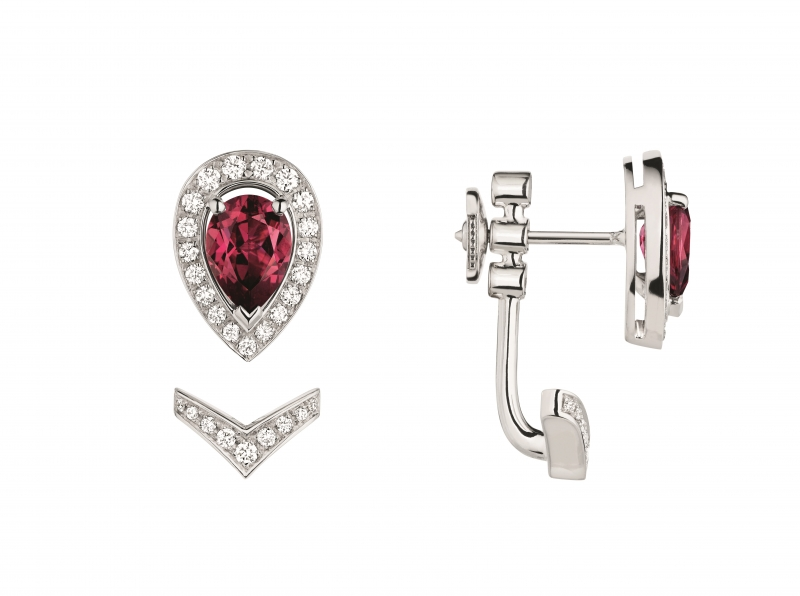 Joséphine Aigrette 18K白金玫瑰榴石耳 環 • 鑲嵌一顆 0.8 克拉梨形玫瑰榴石 • 建議售價: TWD 120,000 • Reference: 083369