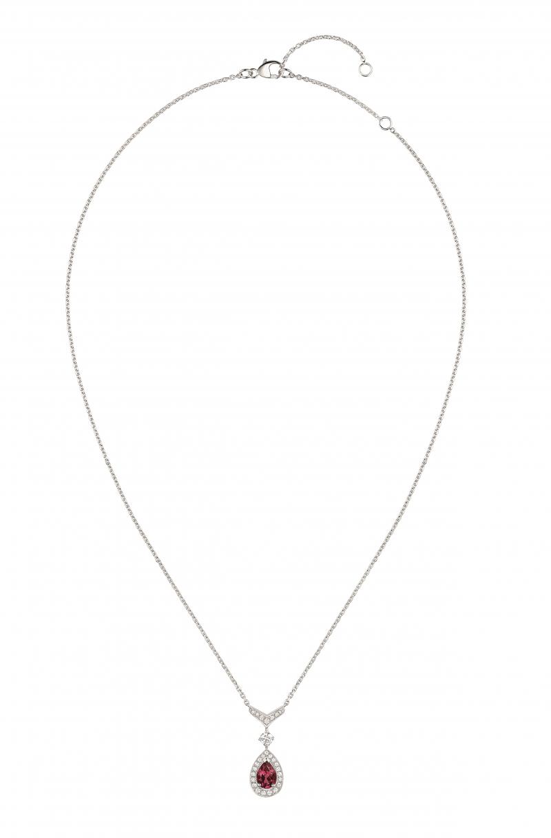 Joséphine Aigrette 18K白金玫瑰榴石吊 墜 • 鑲嵌一顆 0.8 克拉梨形玫瑰榴石 • 建議售價: TWD 187,000 • Reference: 083371
