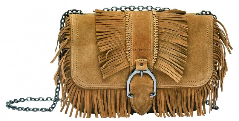 Longchamp Amazone Folk系列荷蓬包黃褐色,參考售價NT28,600。