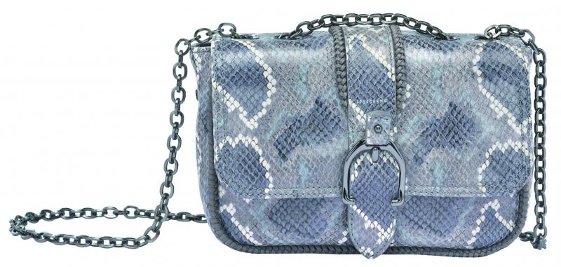Longchamp Amazone Python系列小型荷蓬包灰色,參考售價NT23,700。