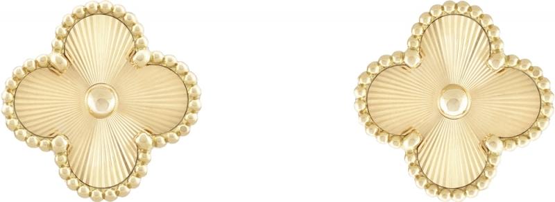 Vintage Alhambra耳環璣鏤雕花黃K金建議售價: 約新台幣154,000元