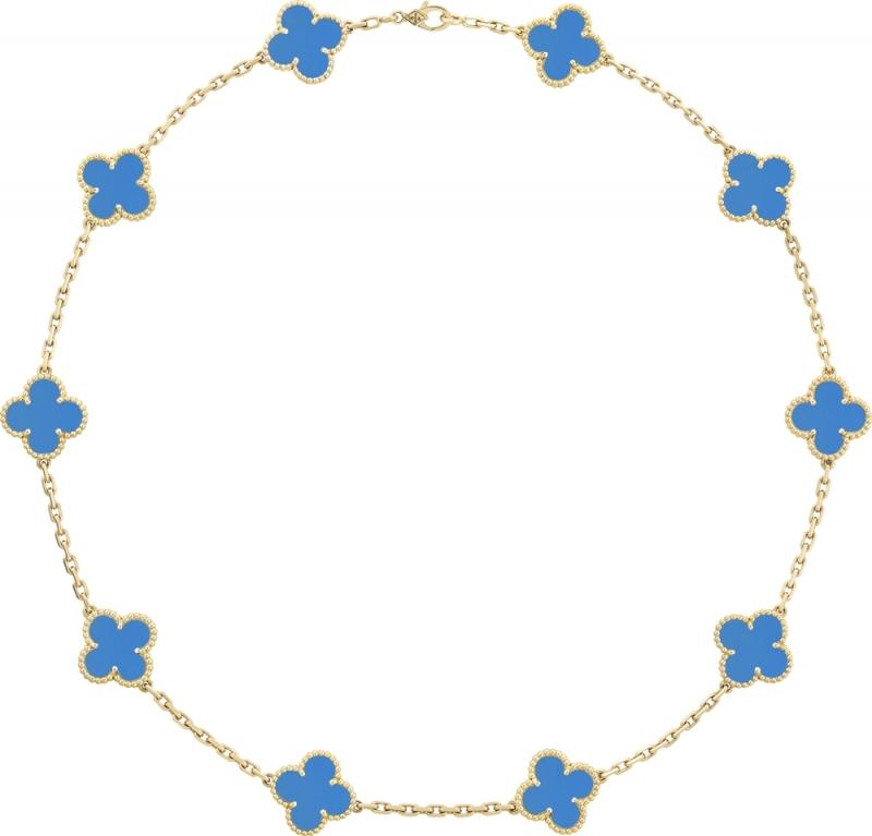 Vintage Alhambra項鍊,10枚四葉幸運圖騰黃K金、藍瑪瑙建議售價: 約新台幣273,000元