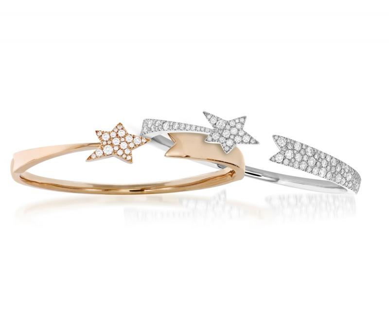 Illa彗星手鐲 玫瑰金與白K金,鑽石各重0.35ct與2ct 售價$230,000、$522,000起