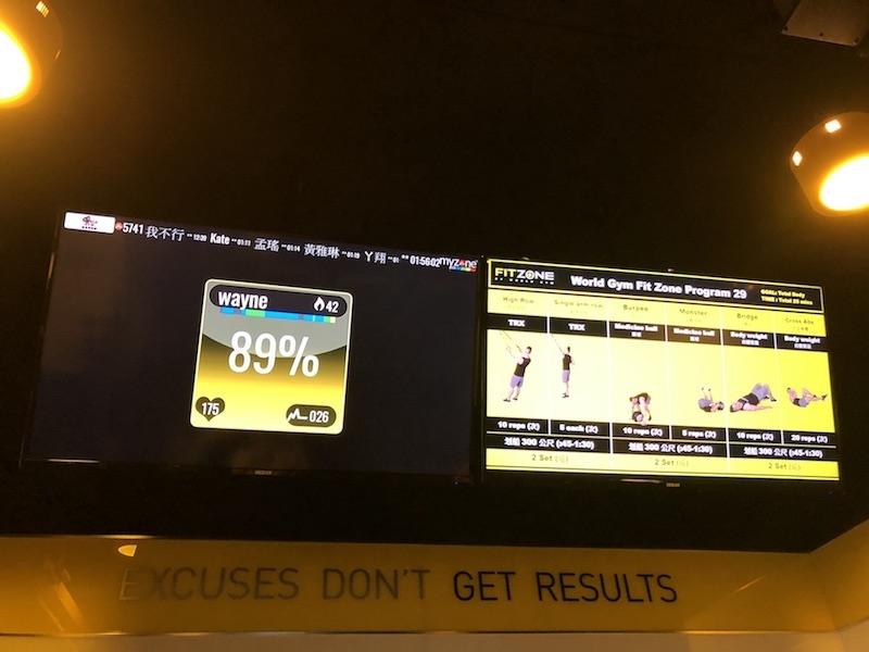 Fit Zone by World Gym心率訓練課程,設螢幕版顯示運動數據