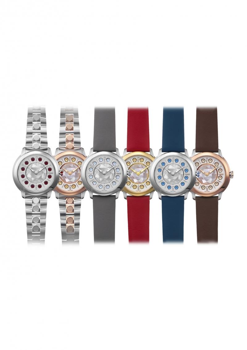 Fendi IShine系列腕錶推出Customization Program線上客製服務,讓送禮送得更有個人風格!不論錶殼尺寸(錶徑33或38毫米)和材質(全鋼或18K黃金或玫瑰金配鋼雙色款式)、錶盤上的寶石排列(專利機制可以轉動錶盤上的三種寶石組合,包括12顆白色拓帕石、12顆黑尖晶石及12顆色彩自訂的拓帕石)、皮革錶帶或鍊帶,都能自行選擇,共計提供210種變化。更多詳細內容請上fendi.com網站。