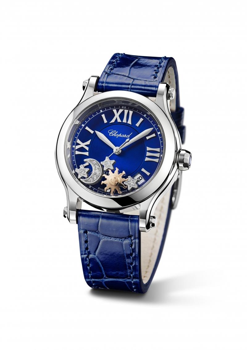 CHOPARD Happy Stars腕錶 精鋼錶殼,綴以兩顆18K白金鑲鑽滑動星星、同材質滑動月亮以及18K玫瑰金滑動太陽,自動上鍊機械機芯。 售價: NT$228,000