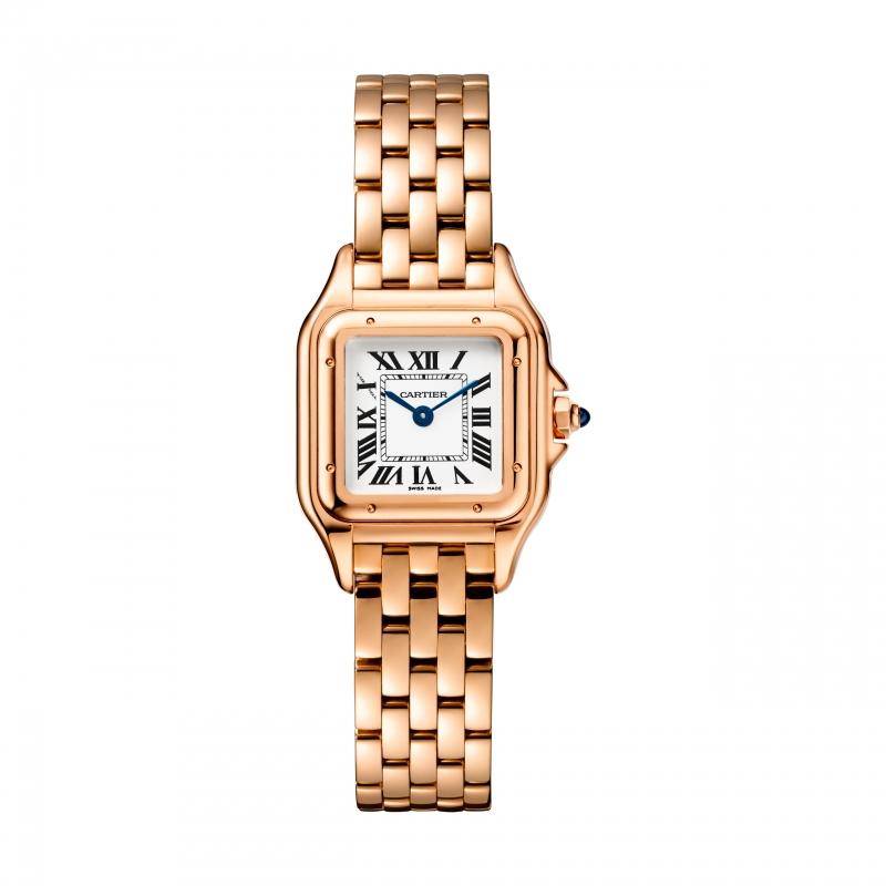 Panthère de Cartier美洲豹玫瑰金腕錶 小型款,搭載石英機芯,八角形錶冠鑲嵌藍寶石 參考價格約NT$ 615,000