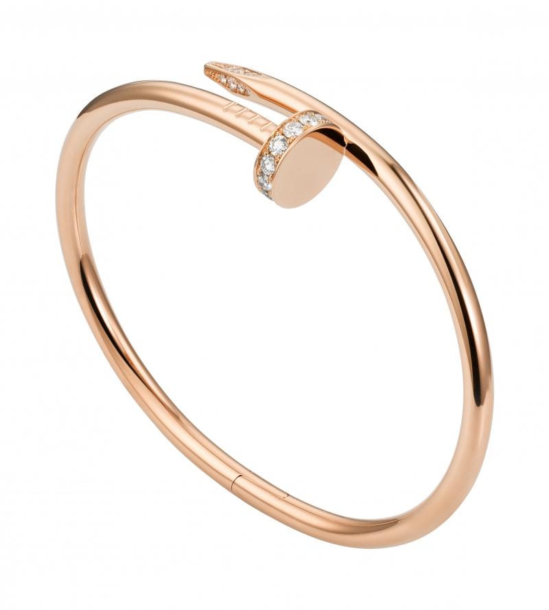 卡地亞Juste un Clou系列鑽石手環 玫瑰K金鑲嵌鑽石,參考價格約NT$ 363,000(另有黃K金、白K金可供參考)
