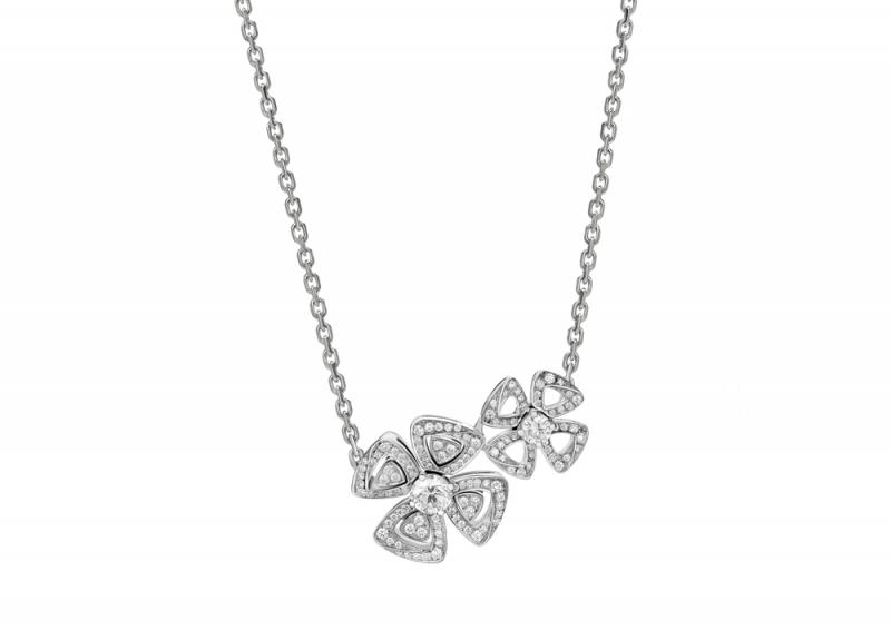 354498_BVLGARI FIOREVER 系列白K金鑽石項鍊_參考售價 約新台幣 312,200元