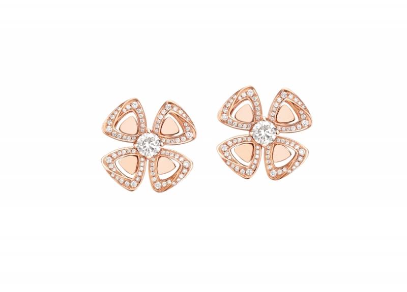 356280_BVLGARI FIOREVER 系列玫瑰金鑽石耳環_參考售價 約新台幣 261,700元