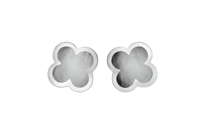 Pure Alhambra系列白K金耳環,灰色珍珠母貝。