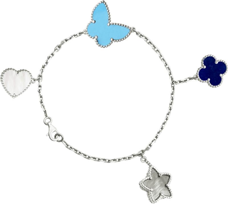 Lucky Alhambra白K金手鍊,白色珍珠母貝、灰色珍珠母貝、青金石、綠松石4枚墜飾。
