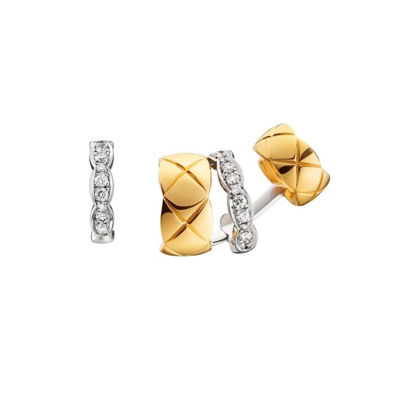 Coco Crush銬式耳環_18K黃金與白金鑲嵌22顆明亮式切割鑽石。 售價NTD191,000元