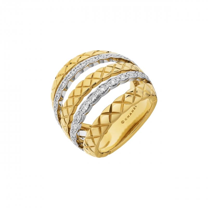 COCO CRUSH多層次寬版戒指,18K白金與黃金鑲嵌62顆明亮式切割鑽石