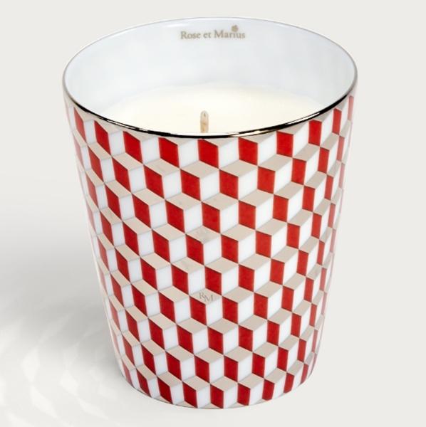 Rose et Marius普羅旺斯經典瓷磚霧紅迷你鉑金香氛(骨瓷蠟燭杯+蠟燭100g),NT5,900