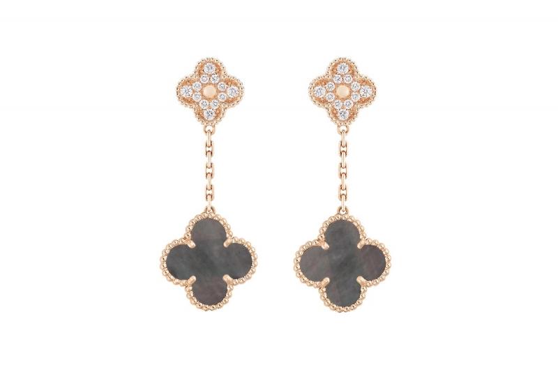 Vintage Alhambra玫瑰金鑲鑽耳環,灰色珍珠母貝墜飾。