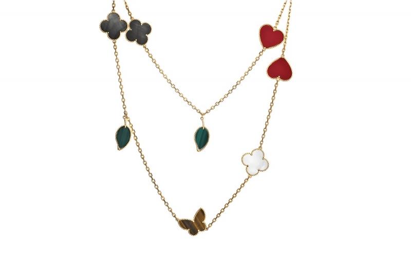 Lucky Alhambra黃K金長項鍊,白色珍珠母貝、灰色珍珠母貝、紅玉髓、虎眼石、孔雀石12枚墜飾