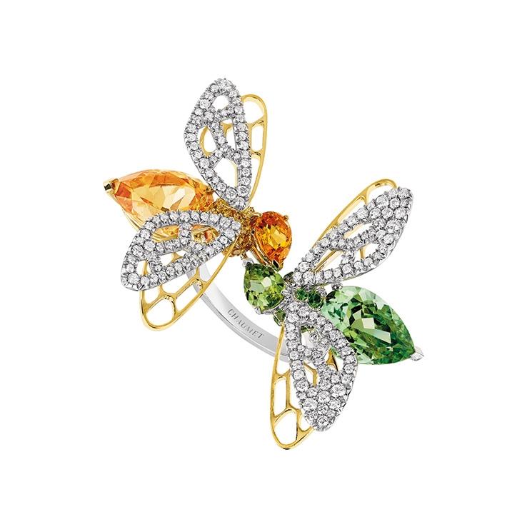 CHAUMET 白與黃K金鑲嵌碧璽、石榴石與鑽石戒指