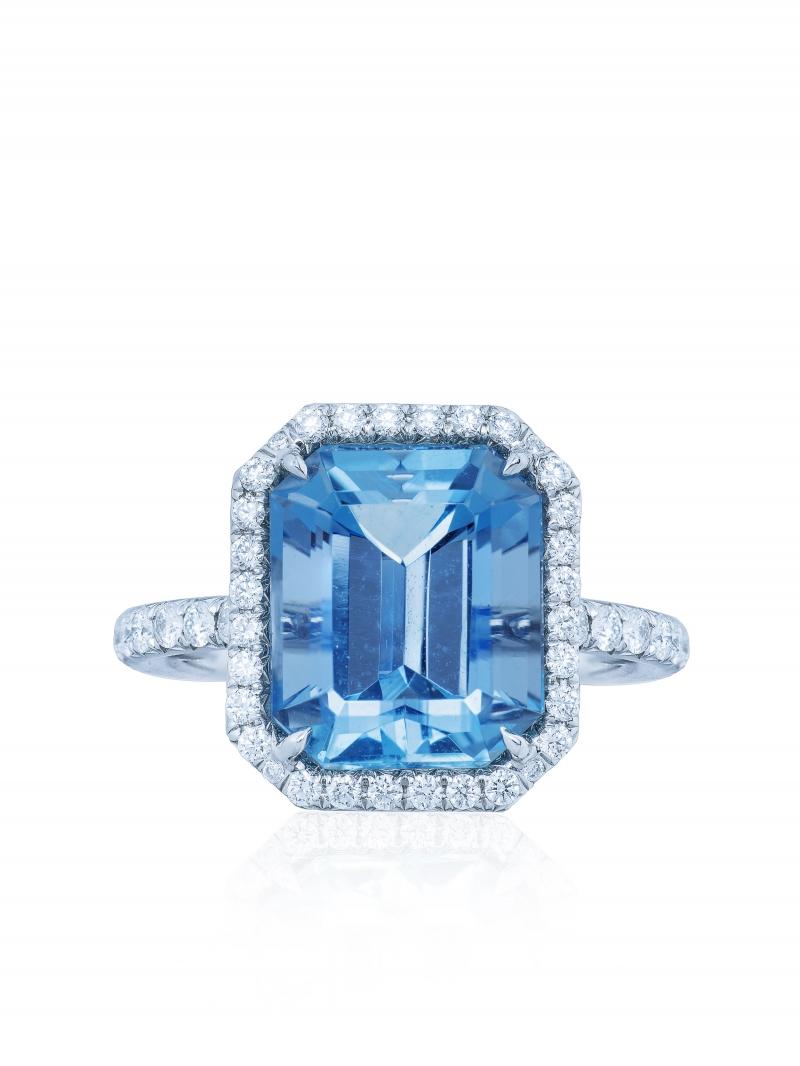 Tiffany 4.53克拉祖母綠切割海水藍寶鑽戒