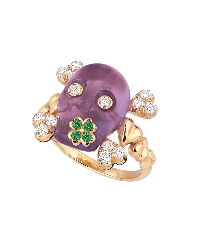 DIOR 永生骷顱頭紫水晶黃K金鑽石戒指 $NTD315,000
