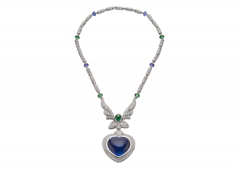 BVLGARI Wild Pop ANDY WARHOL系列 Pop Heart 頂級藍寶石與鑽石項鍊(263787)