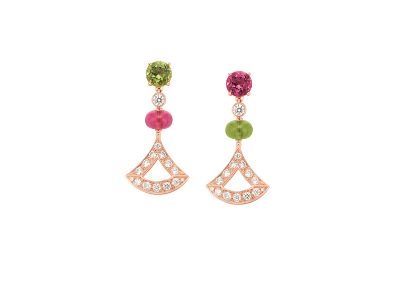 BVLGARI DIVAS' DREAM 系列玫瑰金紅碧璽、橄欖石與鑽石耳環,參考價格約新台幣316,100元_OR858402(355616)