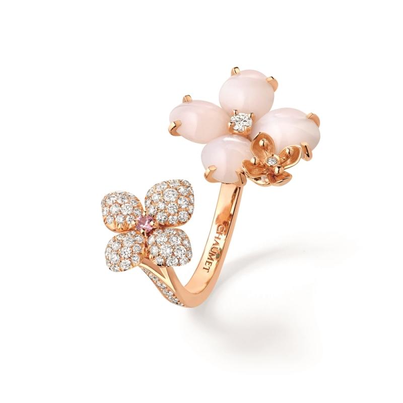 CHAUMET Hortensia Eden 繡球花系列 粉紅蛋白石指間戒 建議售價327,000