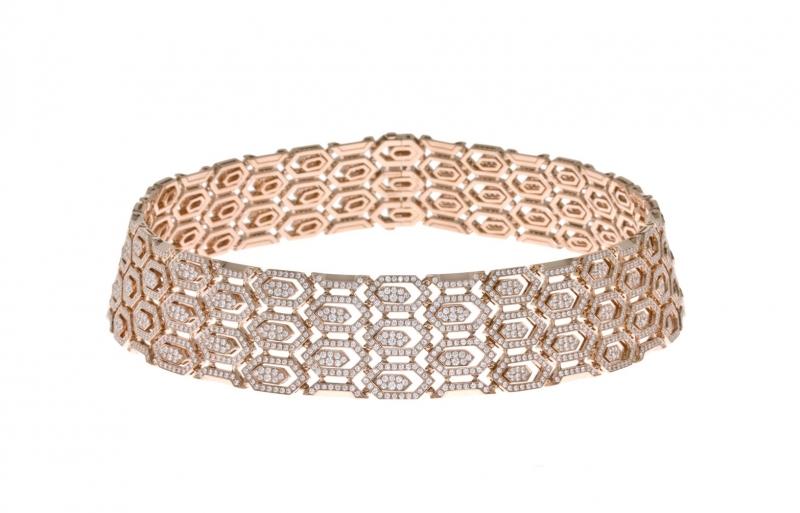 BVLGARI Serpenti玫瑰金鑽石頸鍊