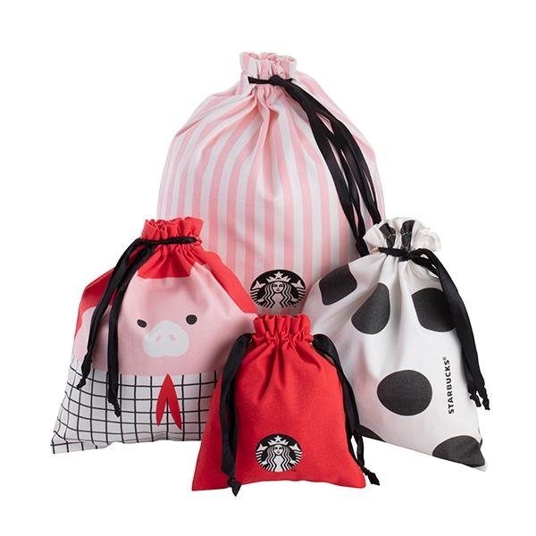 豬豬抽繩袋四件組,售價$980。(一組4入)