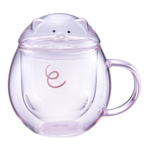 小豬把手雙層玻璃杯,售價$800。容量:300ML。